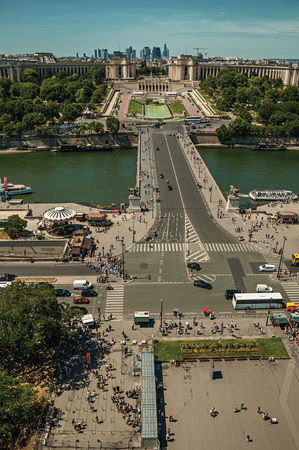 Paris, northern France - July 07, 2017. Skyline, Seine River, Trocadero and street with blue sky, seen from the Eiffel Tower in Paris. Known as one of the most awesome world's cultural center.