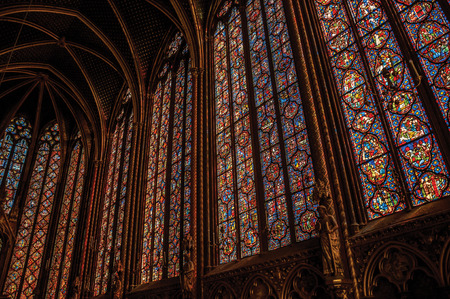 Paris, Northern France - July 08, 2017. Colorful stained glass windows at the gothic Sainte-Chapelle (church) in Paris. Known as the