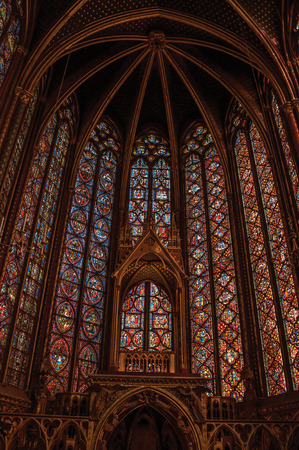 Paris, Northern France - July 08, 2017. Stained glass windows and baldachin at the Sainte-Chapelle (church) in Paris. Known as the Editorial