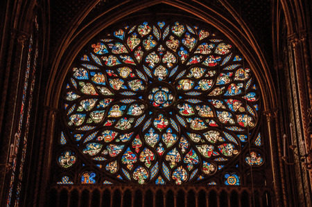 Paris, Northern France - July 08, 2017. Colorful stained glass window at the gothic Sainte-Chapelle (church) in Paris. Known as the