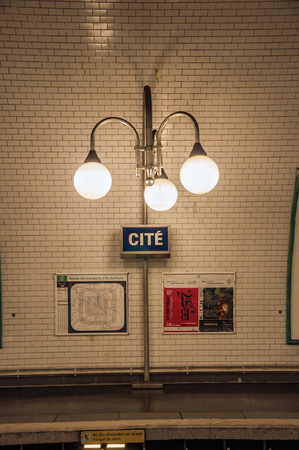 """Paris, France - July 08, 2017. Close-up of luminaires in the Cite subway station in Paris. Known as the """"City of Light"""", it is one of the most impressive cultural centers in the world. Northern France"""