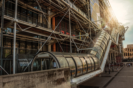 Paris, northern France - July 09, 2017. Center Georges Pompidou's Facade and sunlight in Paris. Known as the