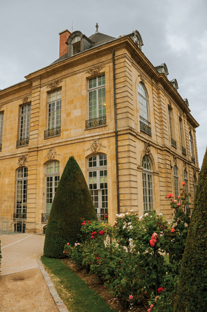 Paris, France - July 11, 2017. Rodin Museum building and gardens on cloudy day in Paris. Known as the