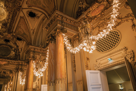"""Paris, France - July 11, 2017. Luxurious lounge decoration at the Quai d'Orsay Museum in Paris. Known as the """"City of Light"""", it is one of the most impressive cultural centers in the world. Northern France. Editorial"""