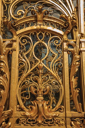 """Close-up of the far-fetched golden gate decoration at the Petit Palais entrance in Paris. Known as the """"City of Light"""", it is one of the most impressive cultural centers in the world. Northern France."""