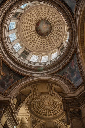 Paris, northern France - July 12, 2017. Inside view of the colorful and richly decorated Pantheon dome and ceiling in Paris. Known as one of the world's most impressive cultural centers.