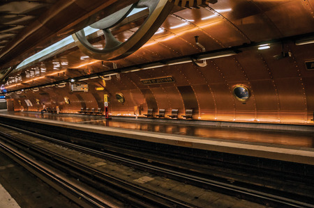 """Paris, northern France - July 09, 2017. Arts et Metiers subway station covered by copper sheets in Paris. Known as the """"City of Light"""", it is one of the most impressive cultural centers in the world. Editorial"""