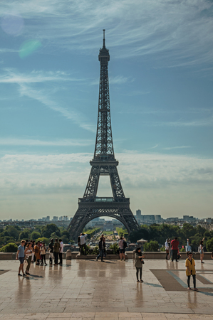 Paris, France - July 07, 2017. People at the Trocadero and Eiffel Tower in Paris. Known as the