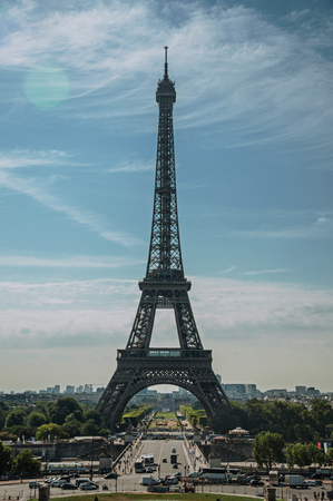 Seine River, Eiffel Tower and greenery under sunny blue sky, seen from the Trocadero in Paris. Known as the