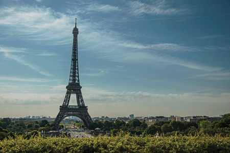 Seine River, Eiffel Tower and greenery under sunny blue sky, seen from the Trocadero in Paris. Known as one of the world's most impressive cultural centers. Northern France. Retouched photo.