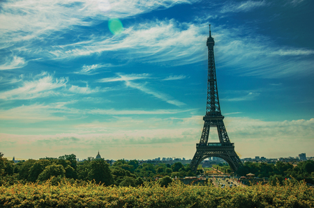 Seine River, Eiffel Tower and greenery seen from the Trocadero in Paris. Known as the