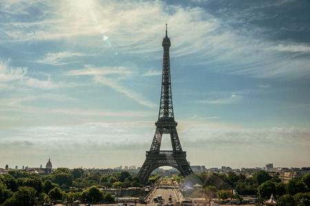 Seine River, Eiffel Tower and gardens seen from the Trocadero in Paris. Known as the