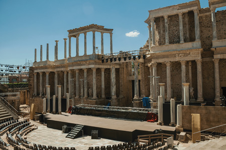 Merida, Spain - July 05, 2018. Stage being prepared for show at the huge Roman Theater of Merida. Founded by ancient Rome in western Spain, the city preserves many buildings of that era. Editorial