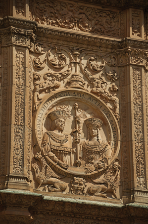 Salamanca, Spain - July 21, 2018. Ornaments carved in Plateresque style on the Salamanca University facade at Salamanca. This medieval town is one of the most important university cities in Spain.
