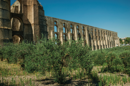 Olive trees in front the Amoreira Aqueduct with arches and rectangular pillars at the western road entrance of Elvas. A gracious star-shaped fortress city on the easternmost frontier of Portugal.