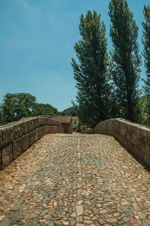 Cobblestone pavement and breastwork over an old Roman bridge still in use over the Sever River among trees at Portagem. A district of Marvão at the bottom of a lush wooded valley in eastern Portugal.