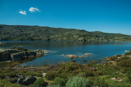 Blue fresh water at the Long Lake on highlands covered by bushes and rocks, in a sunny day at the Serra da Estrela. The highest mountain range in continental Portugal, with astonishing scenery.