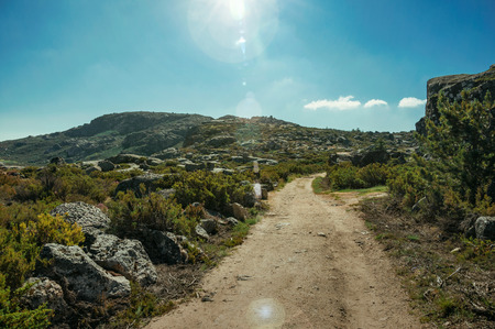 Hiking trail on rock landscape covered by bushes on highlands, in a sunny day at the Serra da Estrela. The highest mountain range in continental Portugal, with astonishing scenery. Retouched photo.