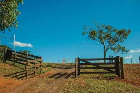 Pardinho, Brasilien - Hölzernes Hoftor und Viehwächter mitten im Stacheldrahtzaun, an einem sonnigen Tag in der Nähe von Pardinho. Ein kleines ländliches Dorf in der Landschaft des Bundesstaates Sao Paulo. Standard-Bild
