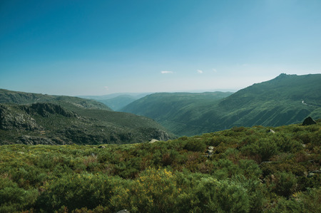 Zezere River valley, a long green canyon formed by glacier thousands of years ago, in a sunny day at the Serra da Estrela. The highest mountain range in continental Portugal, with astonishing scenery.