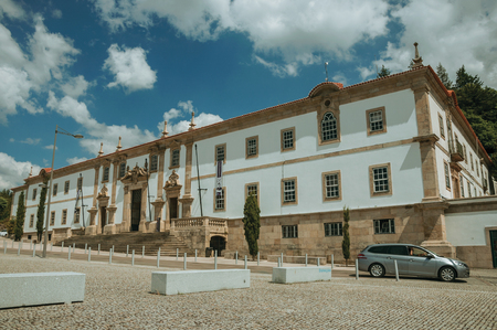 Gouveia, Portugal - July 17, 2018. Facade of the Town Hall building finery decorated in baroque style at Gouveia. A nice country town with gardens and captivating historical heritage in Portugal. Banco de Imagens - 124404109