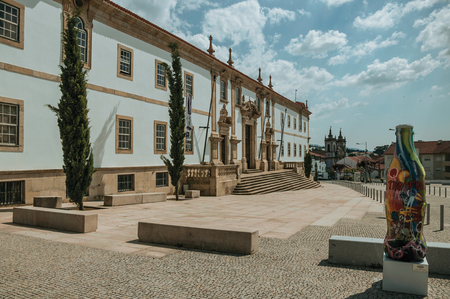 Gouveia, Portugal - July 17, 2018. Facade of the Town Hall building finery decorated in baroque style at Gouveia. A nice country town with gardens and captivating historical heritage in Portugal.