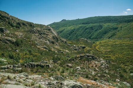 Mountainous landscape with rocky cliffs covered by green bushes in a sunny day, at the highlands of Serra da Estrela. The highest mountain range in continental Portugal, with astonishing scenery.
