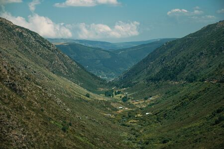 Zezere River valley, a long green canyon formed by glacier thousands of years ago, in a sunny day at Serra da Estrela. The highest mountain range in continental Portugal, with astonishing scenery.