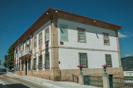 Belmonte, Portugal - July 16, 2018. Charming old house with stone details in baroque style at Belmonte. A cute small town, birthplace of the navigator Pedro Alvares Cabral, on eastern Portugal. Editorial