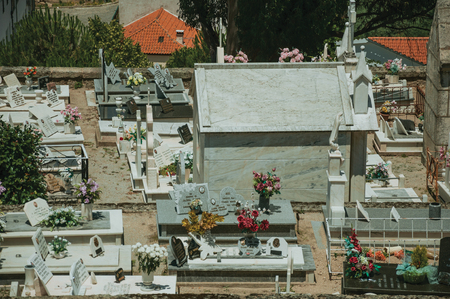 Belmonte, Portugal - July 16, 2018. Cemetery with stone walls encircling tombs and crypts at Belmonte. A cute small town, birthplace of the navigator Pedro Alvares Cabral, on eastern Portugal.