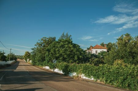Countryside road on sunset and charming cottage amidst lush green trees near Elvas. A gracious star-shaped fortress city on the easternmost frontier of Portugal.