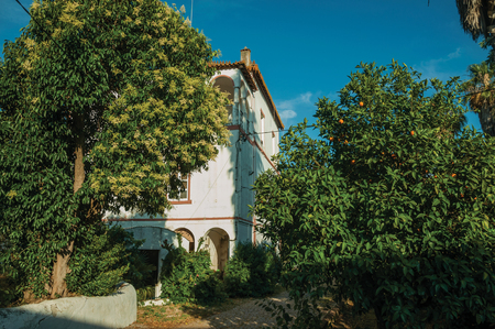 Charming cottage amidst lush green trees on sunset, in the courtyard of small farm near Elvas. A gracious star-shaped fortress city on the easternmost frontier of Portugal.