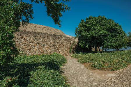 Cobblestone pathway and wall in a lawn garden with leafy trees, on sunny day at the Marvao Castle. An amazing medieval fortified village perched on a granite crag in eastern Portugal.