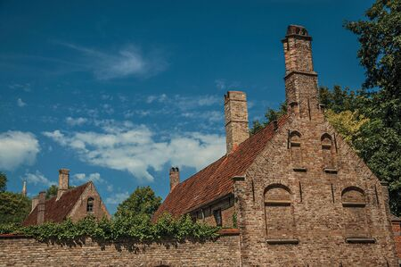 Old brick houses, roofs and chimneys contrasting with blue sky in Bruges. With many canals and old buildings, this graceful town is a World Heritage Site of Unesco. Northwestern Belgium. Zdjęcie Seryjne