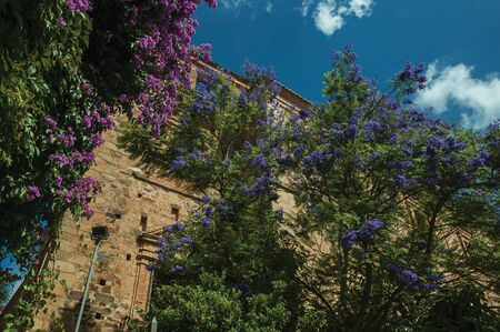 Old stone building and trees with colorful flowers in a sunny day at Caceres. A cute and charming town with a fully preserved medieval city center in western Spain. Zdjęcie Seryjne