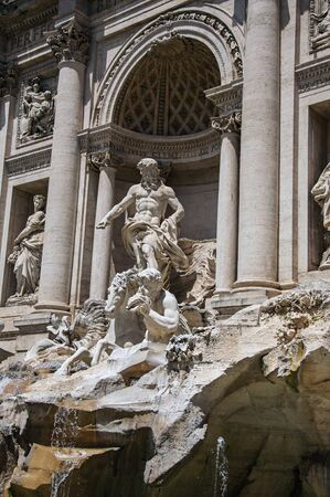 Close-up of the world-famous Trevi Fountain at the city center of Rome, the incredible city of the Ancient Era, known as Zdjęcie Seryjne