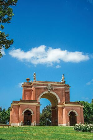 View of the unusual facade of theater in the Villa Pamphili Park on a sunny day at Rome, the incredible city of the Ancient Era, known as