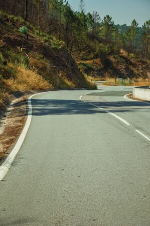 Deserted curve road through hilly landscape with dry bushes and green trees, on sunny day near Castelo Branco. Friendly and important city, it was a former bishopric in the central region of Portugal.