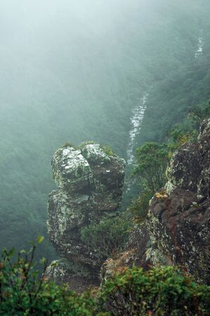 Steep rocky cliff with bushes and mist coming up from the valley at Serra Geral National Park near Cambara do Sul. A small country town in southern Brazil with amazing natural tourist attractions. Zdjęcie Seryjne