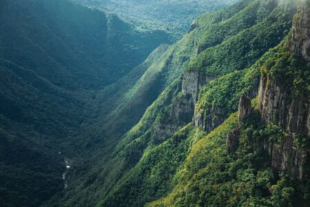 Fortaleza Canyon with steep rocky cliffs covered by thick forest and river in the bottom near Cambara do Sul. A small country town in southern Brazil with amazing natural tourist attractions.