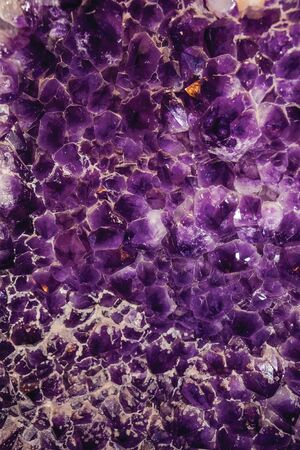 Detail of magnificent semiprecious gemstone of amethyst with calcite inclusions in Gramado. A cute european-influenced town in southern Brazil, highly sought after by tourists.