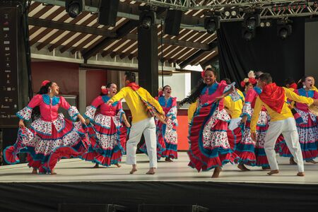Nova Petropolis, Brazil - July 20, 2019. Colombian folk dancers performing a typical dance on 47th International Folklore Festival of Nova Petropolis. A rural town founded by German immigrants. Redactioneel
