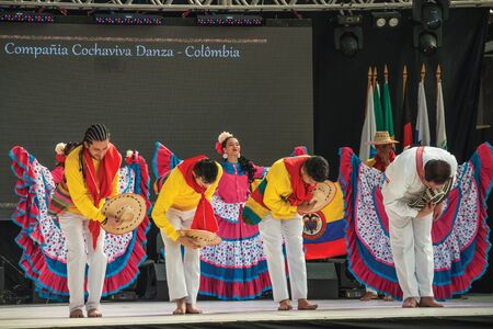 Nova Petropolis, Brazil - July 20, 2019. Colombian folk dancers performing a typical dance on 47th International Folklore Festival of Nova Petropolis. A lovely rural town founded by German immigrants.
