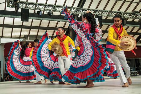 Nova Petropolis, Brazil - July 20, 2019. Colombian folk dancers performing a typical dance on 47th International Folklore Festival of Nova Petropolis. A lovely rural town founded by German immigrants. Redactioneel