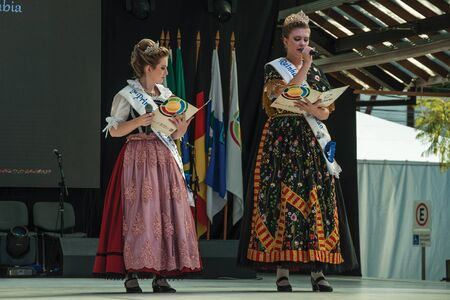 Nova Petropolis, Brazil - July 20, 2019. Female hosts in traditional costumes at the 47th International Folklore Festival of Nova Petropolis. A rural town founded by German immigrants in Brazil. Redactioneel