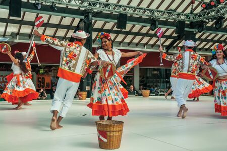 Nova Petropolis, Brazil - July 20, 2019. Brazilian folk dancers performing a typical dance on 47th International Folklore Festival of Nova Petropolis. A lovely rural town founded by German immigrants.