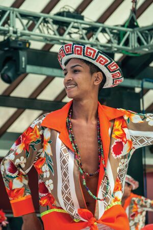 Nova Petropolis, Brazil - July 20, 2019. Brazilian male folk dancer performing a typical dance on 47th International Folklore Festival of Nova Petropolis. A rural town founded by German immigrants. Redactioneel