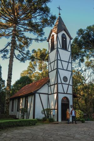 Nova Petropolis, Brazil - July 20, 2019. Church with belfry in traditional German-influenced style at the Immigrant Village Park of Nova Petropolis. A lovely rural town founded by German immigrants.