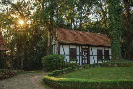Nova Petropolis, Brazil - July 20, 2019. Small houses in traditional German-influenced style at the Immigrant Village Park of Nova Petropolis. A lovely rural town founded by German immigrants. Redactioneel