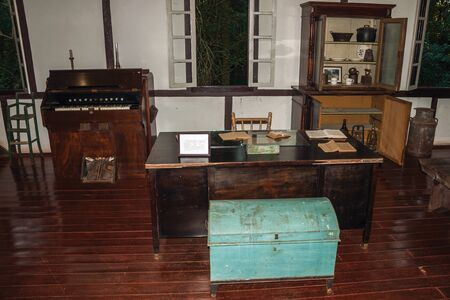 Nova Petropolis, Brazil - July 20, 2019. Historical reproduction of an old office with furniture at the Immigrant Village Park of Nova Petropolis. A lovely rural town founded by German immigrants. Redactioneel